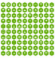 100 scenery icons hexagon green vector image vector image