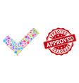 approved composition of mosaic and textured stamp vector image vector image