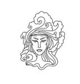 aquarius girl portrait zodiac sign for adult vector image vector image