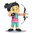 archer girl aiming target vector image vector image