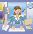 business woman multitasking vector image vector image