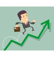 Businessman jump over growing chart vector image