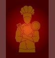 chef cook standing crossed arms with pan vector image