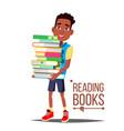 children reading books arfo american boy vector image vector image