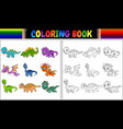 coloring book with little dinosaur cartoon collect vector image vector image