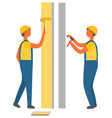 construction workers painting and drilling walls vector image