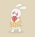 cute bunny with gift box cartoon hare vector image