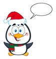 cute christmas penguin cartoon character vector image vector image