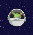 cute green alien in flying capsule vector image vector image