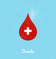 Donate blood bag on blue background vector image