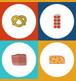 flat icon meal set of beef tomato cheddar slice vector image vector image