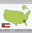 georgia flag and map vector image vector image