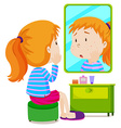Girl with measels looking at mirror vector image vector image