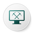 green mining concept with monitor and pickaxe icon vector image vector image