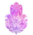 hamsa with boho pattern and pink vector image vector image