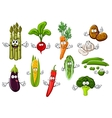 Happy farm vegetables cartoon characters vector image vector image