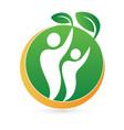 healthy nature green man logo symbol vector image vector image