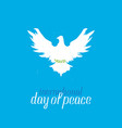 international day of peace silhouette of a pigeon vector image