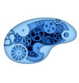 man brain with gears inside vector image