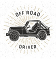 offroad suv car vintage label hand drawn sketch vector image