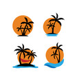 palm tree sunset icon set design template vector image vector image