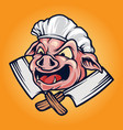 pig chef barbecue bbq mascot logo vector image