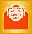postcard with message will you marry me vector image