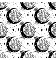 Seamless pattern mystical moon with crystal