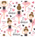 seamless pattern white with cute ballerina girl vector image vector image