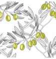 seamless pattern with green olives and olive vector image vector image