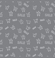 seamless shopping sale pattern on grey background vector image vector image