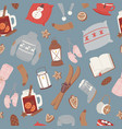 seamless winter pattern with knitted vector image vector image