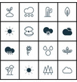 set of 16 world icons includes cold climate rain vector image vector image