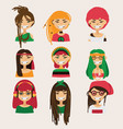 set with lovely rastafarian girls vector image vector image