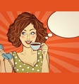 sexy pop art woman with coffee cup vector image