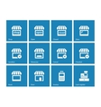 Shop icons on blue background vector image
