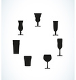 silhouettes of glasses for water or alcohol vector image vector image