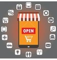 Smartphone - shop in style flat with icons vector image vector image