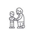 son and father line icon concept son and father vector image vector image