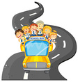 Students riding on school bus vector image vector image
