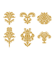 stylized floral design elements with gold flowers vector image