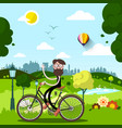 sunny day in city park with waving man on bike vector image vector image