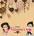 Valentines Day and lovers on Heart chocolate Party vector image vector image