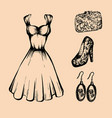 vintage dress shoes with high heels earrings bag vector image vector image