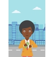 Woman putting money in pocket vector image vector image