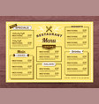 yellow restaurant menu template vector image vector image