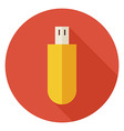 Flat Computer Technology USB Circle Icon with Long vector image