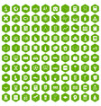 100 school icons hexagon green vector image vector image