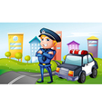 A smiling policeman at the road vector image vector image