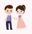beautiful bride and groom couple in wedding dress vector image vector image